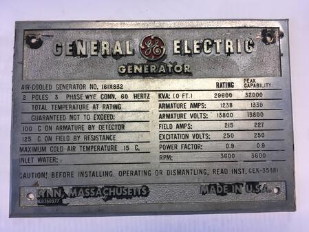 GE 5N Frame 5 Generator For Sale